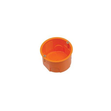 Puszka instalacyjna fi 60 płytka, z wkrętami, pomarańczowa