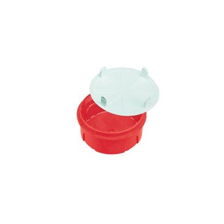 Puszka instalacyjna z pokrywką fi 70, płytka,samogasnąca,bezhalogenowa, czerwona
