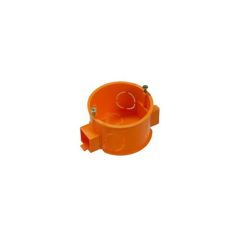 Puszka instalacyjna fi 60 łączeniowa, płytka, z wkrętami, pomarańczowa