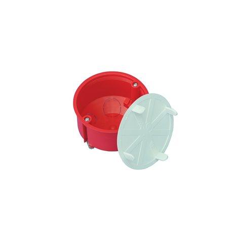 Puszka instalacyjna do płyt gipsowych z pokrywką fi 70 płytka, z wkrętami, samogasnąca, bezhalogenowa, czerwona