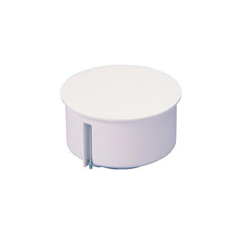 Puszka instalacyjna do płyt gipsowych z pokrywką fi 80 płytka, z wkrętami, biała