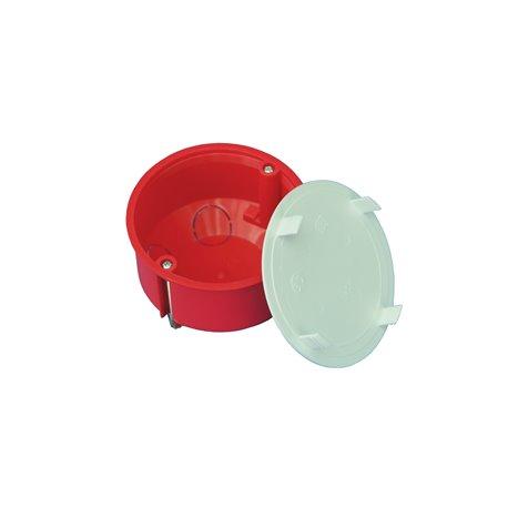 Puszka instalacyjna do płyt gipsowych z pokrywką fi 80 płytka, z wkrętami, samogasnąca, bezhalogenowa, czerwona