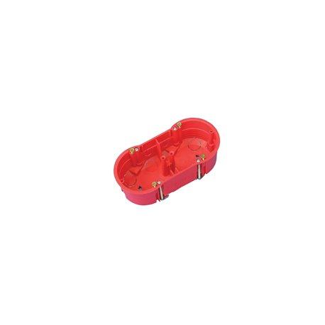 Puszka instalacyjna do płyt gipsowych podwójna 2x fi 60 płytka, z wkrętami, samogasnąca, bezhalogenowa, czerwona