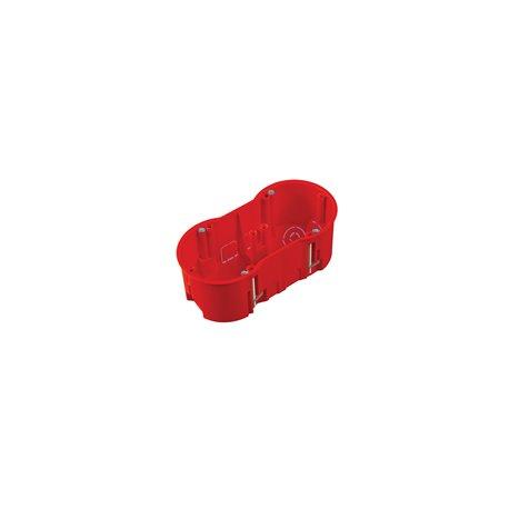 Puszka instalacyjna do płyt gipsowych podwójna 2x fi 60 głęboka, z wkrętami, samogasnąca, bezhalogenowa, czerwona