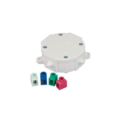Puszka instalacyjna hermetyczna P-1, 4 dławiki, złączki pojedyncze kolorowe 4x2,5mm, IP44, biała