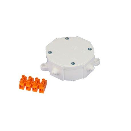 Puszka instalacyjna hermetyczna P-1, 4 dławiki, złączka pomarańczowa 4x6mm2, IP44, biała