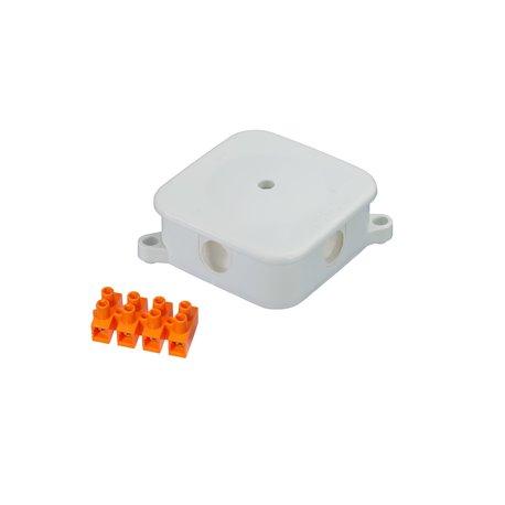 Puszka instalacyjna hermetyczna P-2, 4 dławiki, złączka pomarańczowa 4x6mm2, IP44, biała