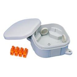 Puszka instalacyjna hermetyczna 92x92 klik,4 dławiki, złączka pomarańczowa 4x6mm2, bezhalogenowa, IP54,szara