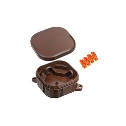 Puszka instalacyjna hermetyczna 92x92 klik,4 dławiki, ze złączką pomarańczową 4x6mm2, bezhalogenowa, brązowa