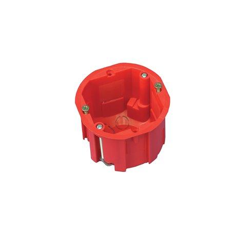 Puszka instalacyjna do płyt gipsowych fi 60 łączeniowa, głęboka, z wkrętami, samogasnąca, bezhalogenowa, czerwona