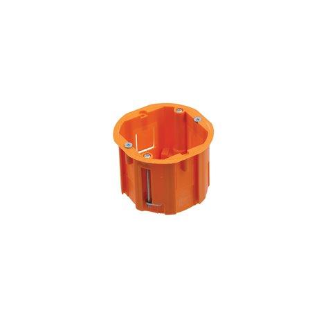 Puszka instalacyjna do płyt gipsowych fi 60 łączeniowa, głęboka, z wkrętami, pomarańczowa