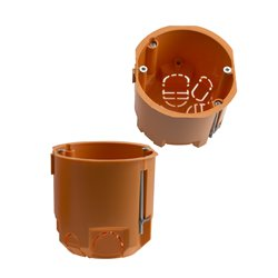 Puszka instalacyjna do płyt gipsowych fi 68 łączeniowa, głęboka, z wkrętami, pomarańczowa