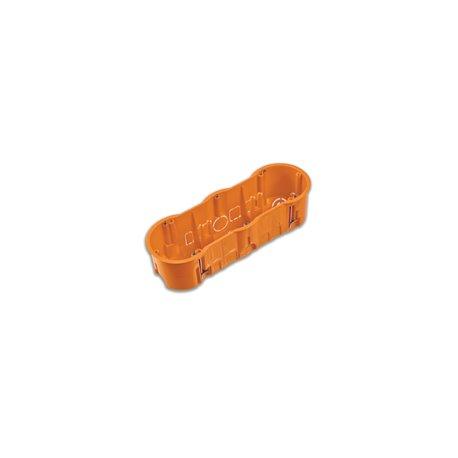 Puszka instalacyjna do płyt gipsowych potrójna 3x fi 60 głęboka,z wkrętami, pomarańczowa