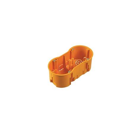 Puszka instalacyjna podwójna 2x fi 60 głęboka, pomarańczowa