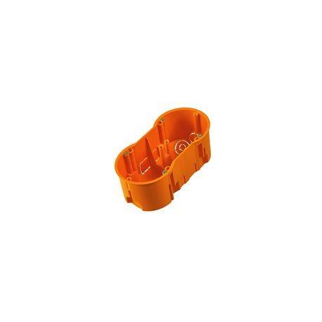Puszka instalacyjna podwójna 2x fi 60 głęboka, z wkrętami, pomarańczowa