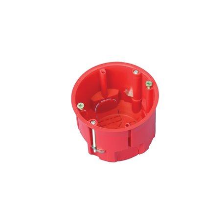 Puszka instalacyjna do płyt gipsowych fi 60 głęboka, z wkrętami, samogasnąca, bezhalogenowa, czerwona
