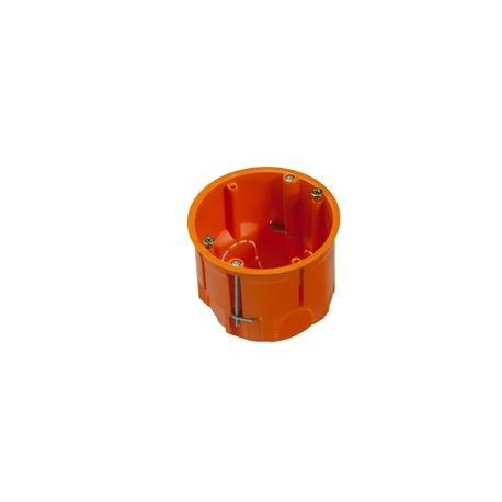 Puszka instalacyjna do płyt gipsowych fi 60 głęboka, z wkrętami, pomarańczowa