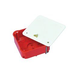 Puszka instalacyjna do płyt gipsowych z pokrywką 100x100x40 płytka, z wkrętami, samogasnąca, bezhalogenowa, czerwona