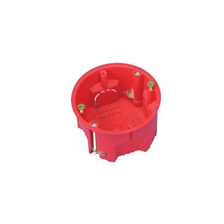 Puszka instalacyjna do płyt gipsowych fi 60 płytka, z wkrętami, samogasnąca, bezhalogenowa, czerwona