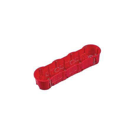 Puszka instalacyjna do płyt gipsowych poczwórna 4x fi 60 głęboka, z wkrętami, samogasnąca, bezhalogenowa, czerwona