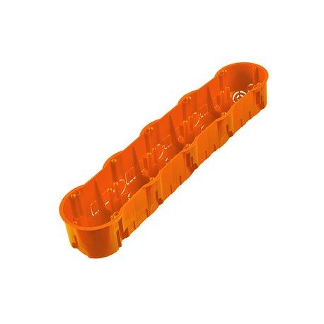 Puszka instalacyjna do płyt gipsowych pięciokrotna 5x fi 60 głęboka, z wkrętami, pomarańczowa