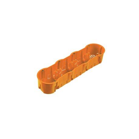 Puszka instalacyjna  poczwórna 4x fi 60 głęboka, bez wkrętami, pomarańczowa