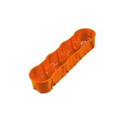 Puszka instalacyjna  poczwórna 4x fi 60 głęboka, z wkrętami, pomarańczowa
