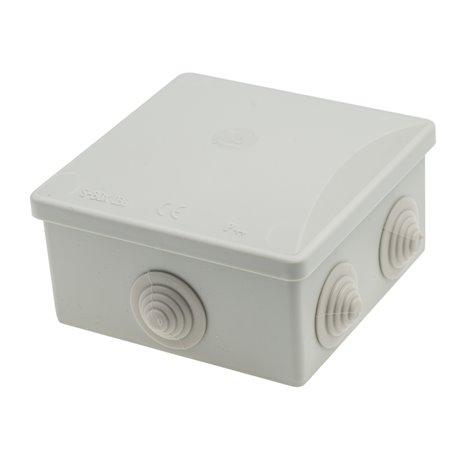 Puszka instalacyjna hermetyczna S-BOX 80x80x40 klik, 6x PG-13,5 okrągłe, bezhalogenowa, IP44, szara