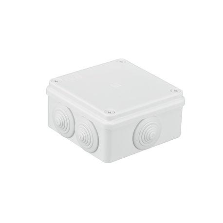 Puszka instalacyjna hermetyczna S-BOX 100x100x50, 6x PG-21,ze złączką zaciskową 5x4mm2,bezhalogenowa, IP65, biała