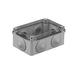 Puszka instalacyjna hermetyczna S-BOX 120x80x50,  6x PG-21, bezhalogenowa, pokrywa przezroczysta, IP65, szara