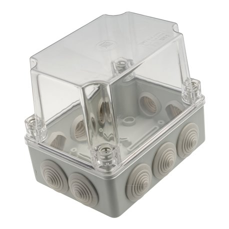 Puszka instalacyjna hermetyczna S-BOX 150x110x140, 10x PG-21,  wysoka,pokrywa przeźroczysta,IP55, szara