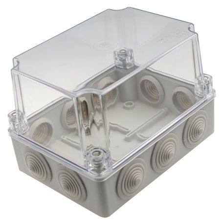 Puszka instalacyjna hermetyczna S-BOX 190x140x140, 10x PG-29, bezhalogenowa, pokrywa przezroczysta, wysoka, IP55, szara