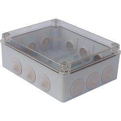 Puszka instalacyjna hermetyczna S-BOX 240x190x90, 12x PG-29, bezhalogenowa, IP65, przeźroczysta