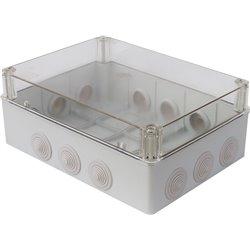 Puszka instalacyjna hermetyczna S-BOX 300x220x120, 12x PG-29, bezhalogenowa,przeźroczysta, IP65, szara