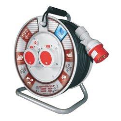 Przedłużacz na bębnie fi 340, siłowy, H05RR F5x2,5-25m, 2x16A/5p (400V), IP55, wyłącznik termiczny