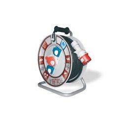 Przedłużacz na bębnie fi 340, siłowy, H05RR F5x1,5-25m, 2xGZ16A, 1x16A 5p (400V), IP44, wyłącznik termiczny