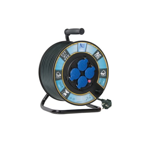 Przedłużacz na bębnie fi 300, H05RR F3x1,5-30m, 4xGZ16A (250V), IP44, wyłącznik termiczny, gniazda schuko