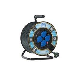Przedłużacz na bębnie fi 300, H05VV F3x1,5-25m, 4xGZ16A (250V), IP44, wyłącznik termiczny