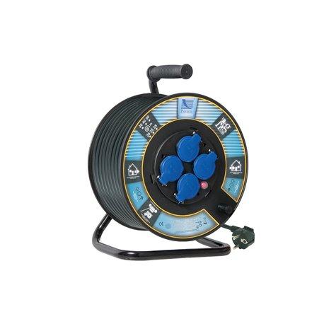 Przedłużacz na bębnie fi 300, H05VV F3x1,5-50m, 4xGZ16A (250V), IP44, wyłącznik termiczny