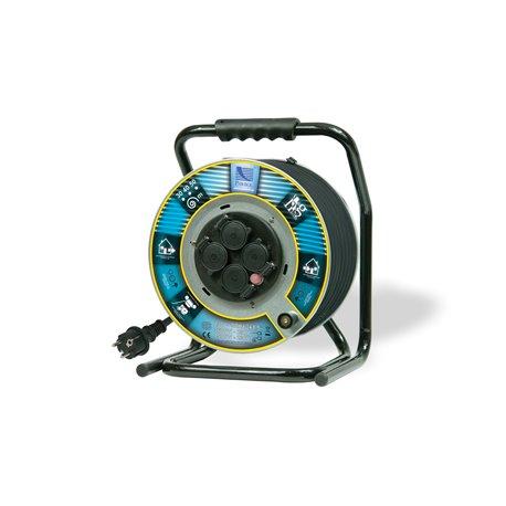 Przedłużacz na bębnie metalowym Home&Garden, H05RR F3x2,5-40m, 4xGZ16A (250V), IP44, wyłącznik termiczny