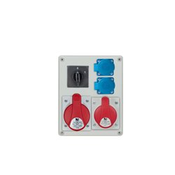 Rozdzielnica R-BOX 240, 1x32A/5p, 1x16A/5p, 2x250V/16A, wyłącznik 0/1