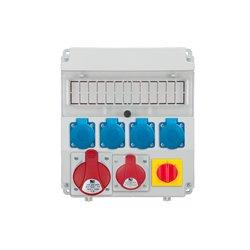 Rozdzielnica R-BOX Lux-320R 13S, 1x32A/5p, 1x16A/5p, 4x250V/16A, wyłącznik L/P