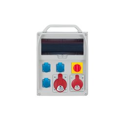 Rozdzielnica R-BOX 380R 13S, 1x32A/5p, 1x16A/5p, 3x250V/16A, wyłącznik L/P zabezp.różn.prąd B32/3,B16/3,3xB16/1,4/40/0,03