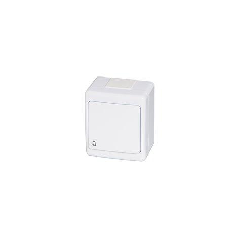 Wyłącznik hermetyczny BETA, pojedynczy, chwilowy-dzwonek, IP44, biały