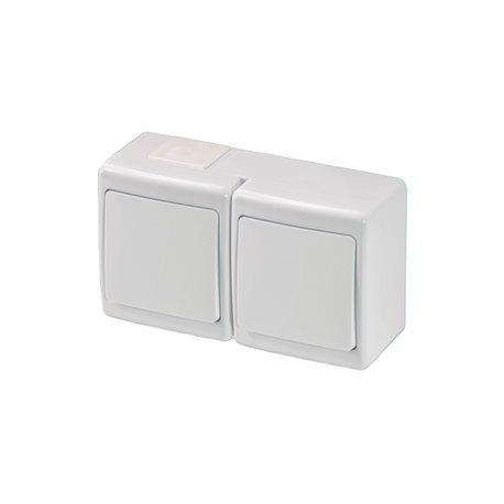 Wyłącznik hermetyczny BETA, podwójny, jednobiegunowy, IP44, biały
