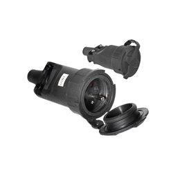 Gniazdo gumowe przenośne 250V/16A, IP65, czarne