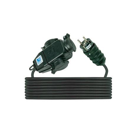 Trójnik 3x250V/16A z wtyczką i przewodem gumowym H05RR F 3x1,5  przewód 5m, IP44, czarny