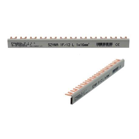 szyna prądowa o przekroju 16 mm, jednotorowa 1F, typ 12L (17,8 mm)