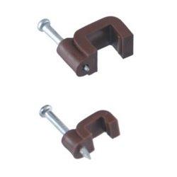 Uchwyt kablowy z gwoździem wbitym YDYp 3x2,5 13/7 płaski, gwóźdź 20/2mm, opakowanie 25szt., brązowy